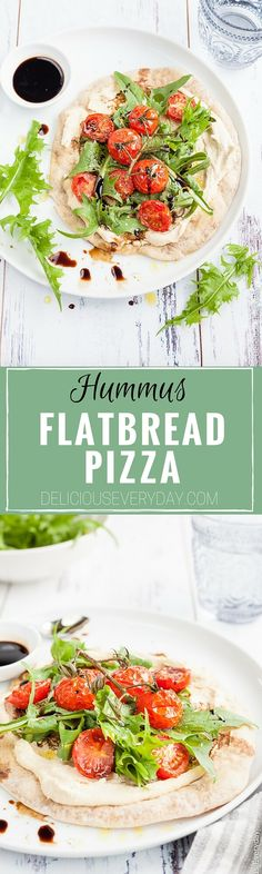 Hummus and Tomato Vegan Flatbread Pizza - A quick, easy and healthy light meal. Flatbreads are lightly toasted until crisp and topped with smooth creamy hummus, sweet cherry tomatoes, dandelion greens and tart balsamic for a satisfying meat-free lunch. | click for the recipe