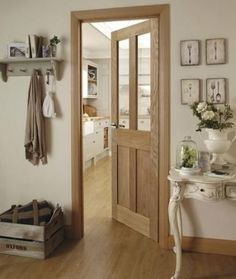 The two glass panes of this classic Burford 4 Panel Oak glazed door complements a variety of interiors. Unique to Howdens this door matches the Burford kitchen range. Doors And Floors, Windows And Doors, Oak Glazed Internal Doors, Internal Cottage Doors, Oak Skirting Boards, Fire Doors, Architrave, Kitchen Doors, Door Design