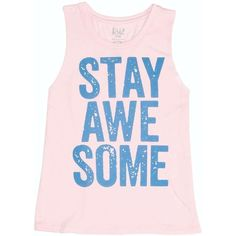 Billabong Women's Stay Awesome Muscle Tee ($12) ❤ liked on Polyvore featuring tops, shirts, tank tops, tanks, peaceful pink, t-shirt/prints, graphic tank, heart print shirt, pink tank top and long tank tops