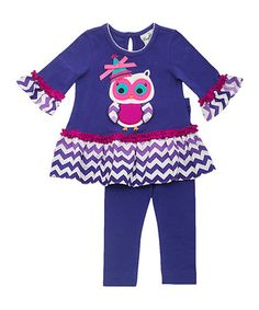 This Purple Chevron Owl Tunic & Leggings - Infant, Toddler & Girls by Rare Editions is perfect! #zulilyfinds