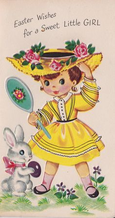 Vintage 1959 Easter Wishes For A Sweet Little by poshtottydesignz