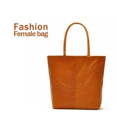 2014 summer women bags fashion women shoulder bag handbag orange ostrich big bag totes no zipper pu leather free shipping $14