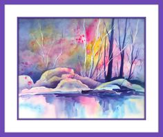 Watercolor Stream Rocks Tree Rainbow Colors by by MarthaKislingArt Rainbow Light, Watercolor Paintings, Watercolors, Rainbow Colors, Painting & Drawing, Art Drawings, Studio, Artist, Flowers