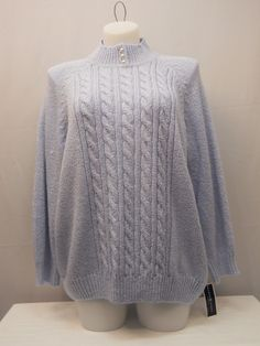 Plus Size 3X Mock Turtle Neck Sweater KAREN SCOTT Women's Blue Long Sleeves  #KarenScott #TurtleneckMock