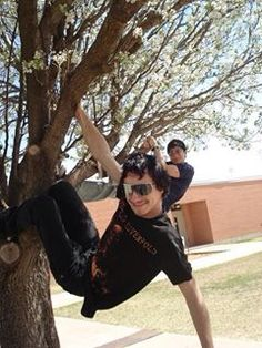 Jeremiah and YD hanging in a tree at Comanche High School!