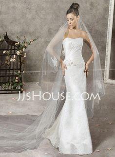 Wedding Dresses - $260.99 - Gorgeous Mermaid Sweetheart Chapel Train Satin  Lace Wedding Dress with Ruffle  Lace  Beadwork (002000197) http://jjshouse.com/Mermaid-Sweetheart-Chapel-Train-Satin-Lace-Wedding-Dress-With-Ruffle-Lace-Beadwork-(002000197)-g197