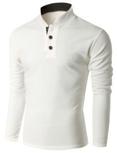 Doublju Men's Long Sleeve China Collar Henley Neck T-shirt (KMTTL0155) #doublju