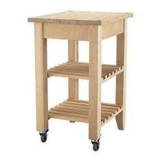 IKEA - BEKVÄM, Tarjoiluvaunu/apupöytä, Massiivipuuta. Voidaan hioa ja pintakäsitellä tarvittaessa.Tuo keittiöön lisää säilytystilaa.