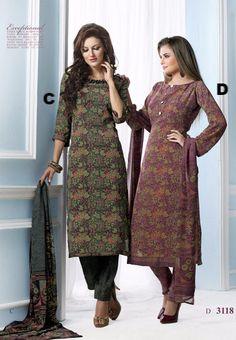 Vaishali Print Crepe Indian Salwar Kameez Suit 3118 CD