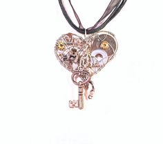 Small Heart And Key Steampunk Pendant by MelsMakeBelieve on Etsy, $29.52