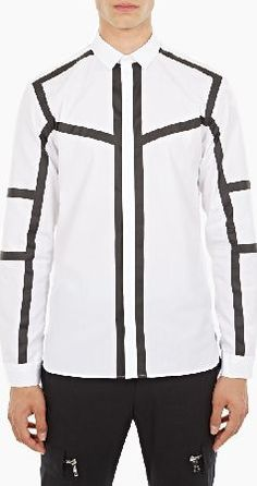 Neil Barrett White Cotton Tape-Detail Shirt The Neil Barrett Cotton Tape-Detail Shirt for AW16, seen here in white. - - This shirt from Neil Barrett is crafted from premium cotton and cut to offer a slim fit. It features a button-down closure,  http://www.comparestoreprices.co.uk/january-2017-6/neil-barrett-white-cotton-tape-detail-shirt.asp