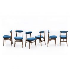 A set of 6 chairs, 200-190 type, design R. T. Hałas, 1963, blue | Komplet 6 krzeseł typu 200-190, proj. R. T. Hałas, 1963 r., niebieskie| buy on Patyna.pl | #forsale #vintage #vintagefinds #vintageshop #vintagelove #retro #old #design #home #midcenturymodern #want #amazing #home #inspiration #kitchen #decoration #furniture #ceramics #glass #hałas #chair #polish #klasyk #60s #1960s Vintage Shop, Type Design, 1960s, Dining Chairs, Polish, Ceramics, Decoration, Classic, Amazing