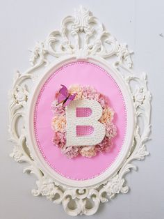 Monogram with Pearls, beads & flowers