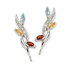 The Ear Pin Diamond Accent Topaz Citrine Garnet Multi Gemstone Silver Earrings >>> Find out more details @ http://www.amazon.com/gp/product/B007V06XCG/?tag=ilikeboutique09-20&st=300716074302