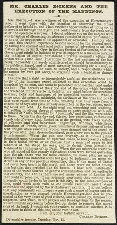 Letter from Charles Dickens about a public execution, 1849 Victorian Life, Victorian London, Letters Of Note, World History, Family History, Cat Reading, British Library, English Lessons, Special People