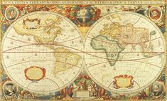 Antique World Map Wall Mural C873 by Environmental Graphics