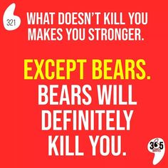 What doesn't kill you makes you stronger. Except bears. Bears will definitely kill you. #whatdoesntkillyoumakesyoustronger #whatdoesntkillyou #stronger #strong #bestrong #keepup #keepsafe #keepyourheadup #chinup #forward #goforward #moveforward #bears #canada #canadian #grizzly #danger #dangerous #hike #walk #nature #adventure #adventurous #weekend #walk #mountain #mountains #mondaymood