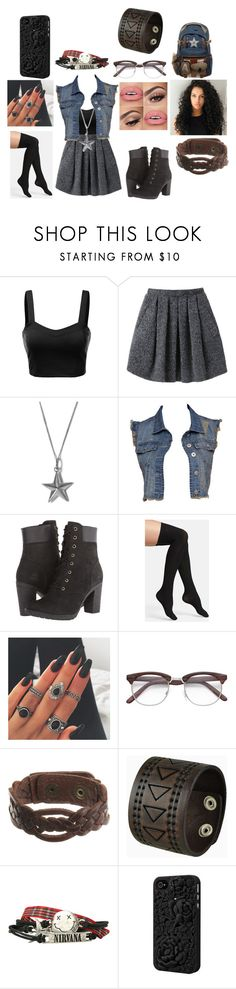"""""""Untitled #1228"""" by pooka515 ❤ liked on Polyvore featuring J.TOMSON, Wood Wood, True Rocks, Timberland, Commando, Motif 56, Nemesis and Hot Topic"""