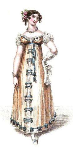 Evening dress from La Belle Assemblée (Apr 1816)