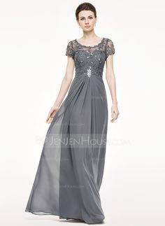 A-Line/Princess Scoop Neck Floor-Length Ruffle Beading Sequins Zipper Up Sleeves Short Sleeves No Steel Grey General Plus Chiffon Lace Height:5.7ft Bust:34in Waist:25in Hips:36in US 4 / UK 8 / EU 34 Mother of the Bride Dress