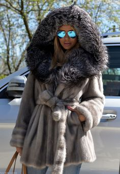 Hooded Mink & fox fur jacket