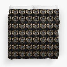 """Black & Gold Beware The Bear Pattern"" Duvet Cover by HavenDesign Black Gold, Duvet Covers, I Shop, Bear, Unique, Pattern, Design, Patterns, Model"