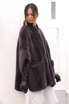 Arquivo: Casaco de pele real vison com capuz, cor cinza