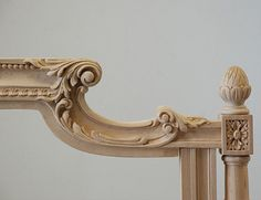 Hand carved bed. Custom carved & finished to order. Designed & manufactured by Auffrance.