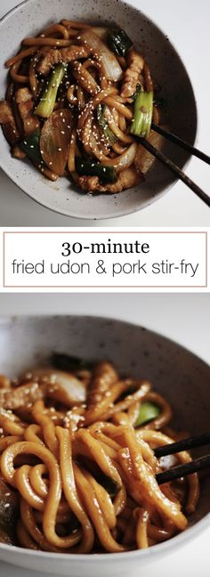 30 Minutes Fried Udon & Pork Stir-Fry Recipe Easy stir fried udon recipe with pork, onions and green onions. Perfect for quick and comfort meal. Stir Fry Recipes, Pork Recipes, Asian Recipes, Chicken Recipes, Vietnamese Recipes, Fried Udon, Fried Pork, Easy Stir Fry, Pork Stir Fry