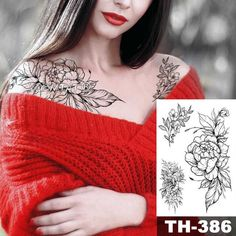 Waterproof Temporary Tattoo Sticker Sketch line peony pattern tatto Water Transfer Rose body art fake arm tatoo For Women Black Tattoos, Body Art Tattoos, Cool Tattoos, Tatoos, Tattoo Paper, Diy Tattoo, Tattoo Sticker, Back Tattoo Women, Geometric Flower