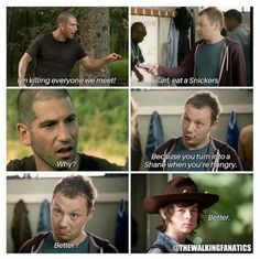 Lol Walking Dead Memes, The Walking Dead, Have A Snickers, Twd Memes, I Wish I Knew, Wellness, Lol, Fan Art, Let It Be