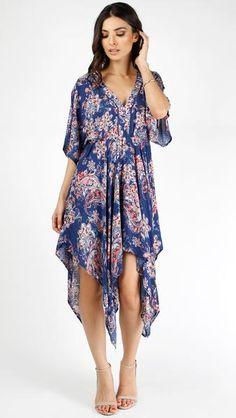 Floral Handkerchief Hem Dress #paisley #flowydress