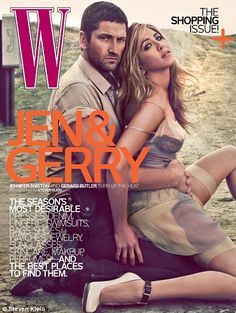 Gerard Butler and Jennifer Aniston on cover of W magazine to promote their new film The Bounty Hunter