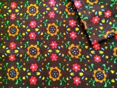 Vintage Fabric 60's Cotton Polyester Brown by Freshandswanky