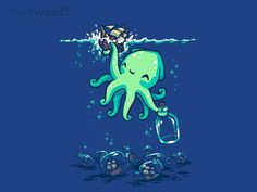 """Deep Sea Hobby"" by Patrickspens Cute kraken puts a ship in a bottle Octopus Art, Sea Monsters, Illustrations, Deep Sea, Sea Creatures, Cute Drawings, Cute Art, Cute Pictures, Fantasy Art"