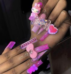 Acrylic Nails Coffin Pink, Long Square Acrylic Nails, Cute Pink Nails, Really Cute Nails, Drip Nails, Glow Nails, Cute Acrylic Nail Designs, Exotic Nails, Kawaii Nails
