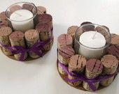 Naked Wine Cork Votive Candle Holder - Set of Two. $15.00, via Etsy.