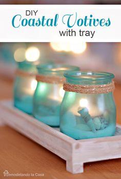 So pretty! DIY - coastal votives with tray gift set