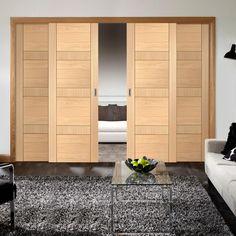 Easi-Slide OP1 Oak Latina Flush Sliding Door System in Three Size Widths. #internalroomdividers #internaloakroomdividers #internalflushoakslidingdoors
