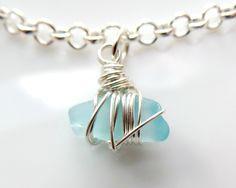 Aqua Beach Glass Ankle Bracelet-Aqua Blue Pendant-Celtic Beach Anklet-Beach Bridal Anklet-Wire Wrapped Pendant-Vegan Anklet-Boho by WaterRhythmGems on Etsy