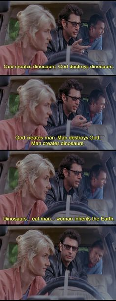 Jurassic park., goldblum is hilarious