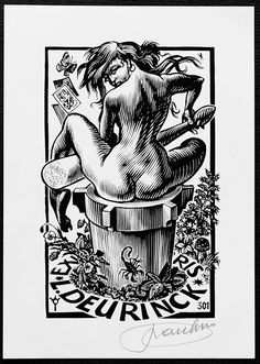 Bookplates, ex libris, copper and wood engravings for sale. Ex Libris, Fantasy Women, Fantasy Art, Avatar The Last Airbender Art, Dope Art, Magazine Art, Opus, Erotic Art, Line Drawing