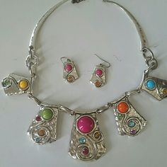 Silver Toned Fun Necklace & Earrings Fun Fun Fun!!! Bright Colors...Would look great with a Maxi this summer!!! :) Jewelry Earrings
