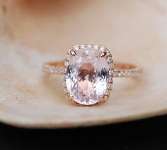 Ice Peach Sapphire Ring Rose Gold Engagement Ring 3.10ct cushion 14k rose gold diamond ring. Engagement rings by #EidelPrecious