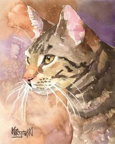 Tabby Cat Art Print of Original Watercolor by dogartstudio on Etsy, #animalart #cat #catart