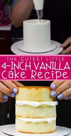 This mini vanilla cake recipe is made in one bowl & is incredibly moist! One batch makes three 4 inch cake layers that are perfect for a small celebration Cake Recipes From Scratch, Best Cake Recipes, Homemade Cake Recipes, Sweet Recipes, Simple Vanilla Cake Recipe From Scratch, Homemade Smash Cake, Wedding Cake Recipes, Smash Cake Recipes, Cake Recipes For Beginners