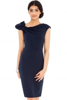 Bodycon with Bow Detail Navy