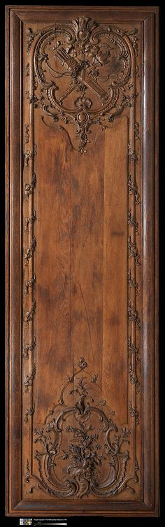 One of a Pair of Carved Oak Panels - 1700–1735,  French  Dimensions: Overall : 125 3/4 x 37 3/4 x 3 1/2 in.    at The Met, chocolate brown, pantone emperador, dark brown, warm brown wood