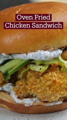 Fried Chicken Sandwich, Oven Fried Chicken, Fries In The Oven, Sandwiches, Meals, Cooking, Sweet, Recipes, Food