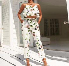 Calista Flounce Floral Print Two-Piece Jumpsuit